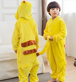 2016 Halloween Cospaly Pokemon Pikachu Costume For Kids Japan Anime Pikachu Flannel Sleepwear Unisex Children Pajamas