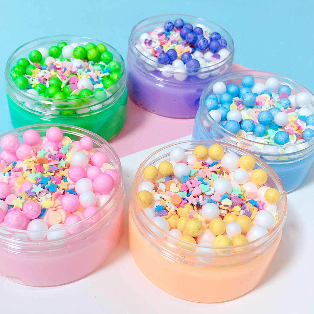 Cute Foam Beads Crunch Cotton Candy Glossy slime Kids Relief Stress Toys Gift Sludge Slime 2019 Brusting Christmas Gift