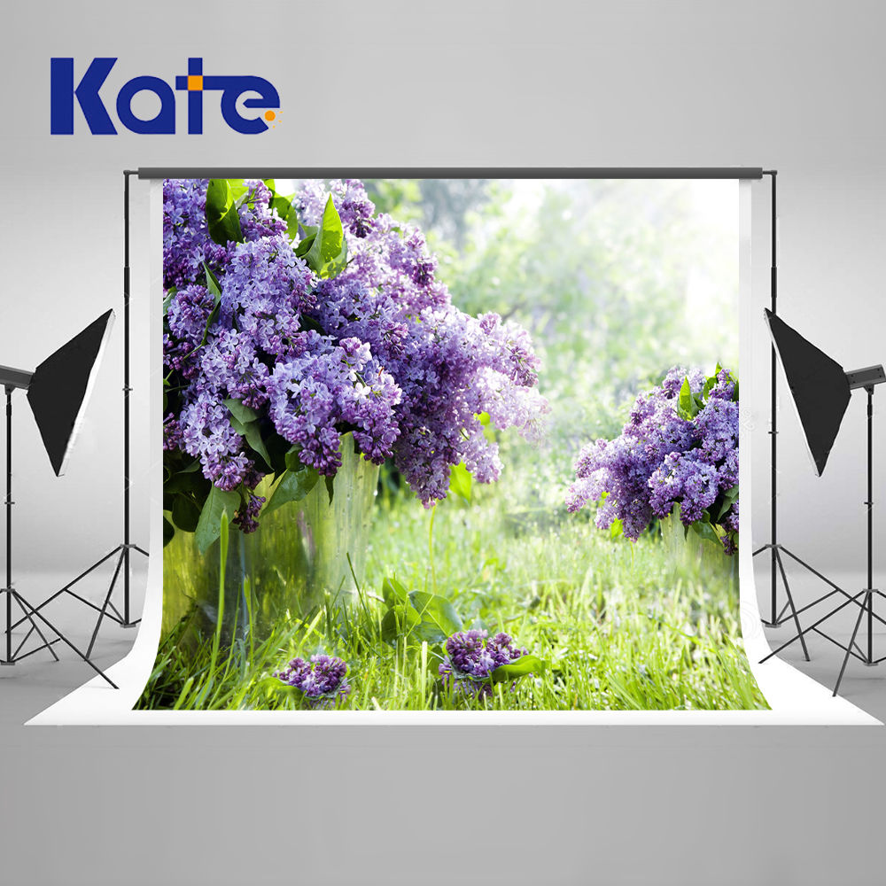 Kate Purple Flowers 10x10ft Wedding Photography Backdrop Countryside Spring Backgrounds For Photo Studio Seamless Background 10x10ft kate spring scenery photography