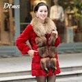 Winter Ladies' Genuine Real Natural Rabbit Fur Coat Raccoon Fur Collar Women Fur Outerwear Clothing VF0594