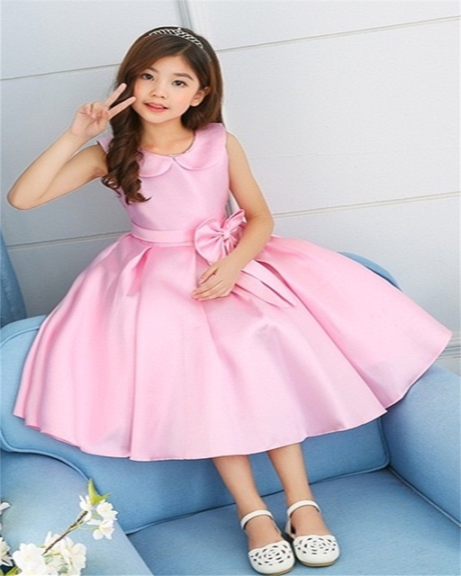 b5b8a16fdbb Dropshipping A-Line Dress Cotton Turn Down Collar Girls Dress Formal  Dresses Evening Gown Kids Dresses for Girls Wedding