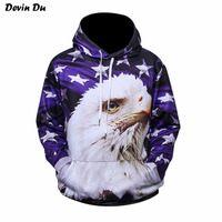 Devin Du USA Flag Sweatshirt Men/Women Hoodies Hooded 3d Print Stars Eagle Cap Hoodies With Front Pockets Tracksuits