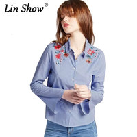 LINSHOW Floral Embroidery Women Striped Blouses Flowers Pattern Lapel Long Flare Sleeve Ladies Shirts Office Autumn Cotton Tops