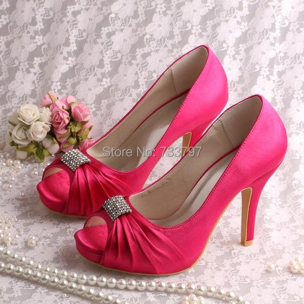 Wedopus High Heels Wedding Shoes Bride Satin Fuchisa Peep Toe Small Platform