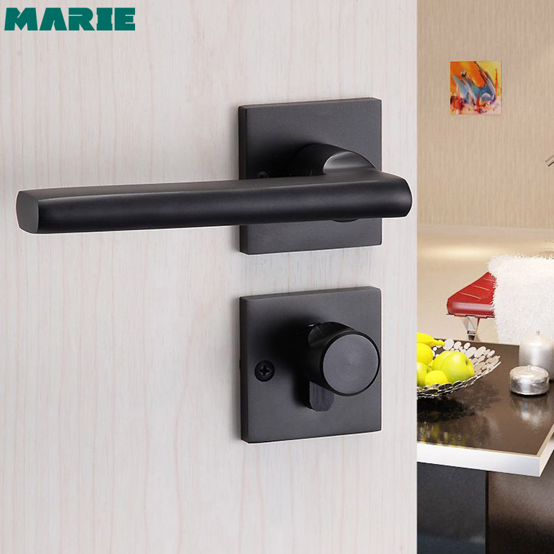 Black aluminum door handle 1 set bedroom interior Continental living room lever door handle lock cylinder With key in Door Handles from Home Improvement