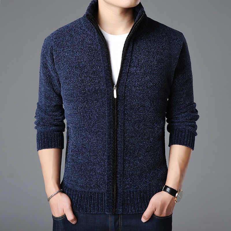 2020 남성을위한 새로운 패션 브랜드 스웨터 Kardigan 두꺼운 슬림 맞는 점퍼 니트 따뜻한 가을 한국 스타일 캐주얼 의류 남성
