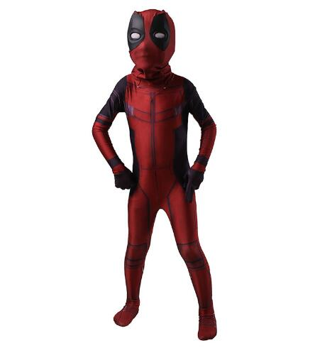 Kids Red And Black Deadpool Cosplay Costume Spandex Fullbody Comics Superhero Suit Halloween Party Bodysuit
