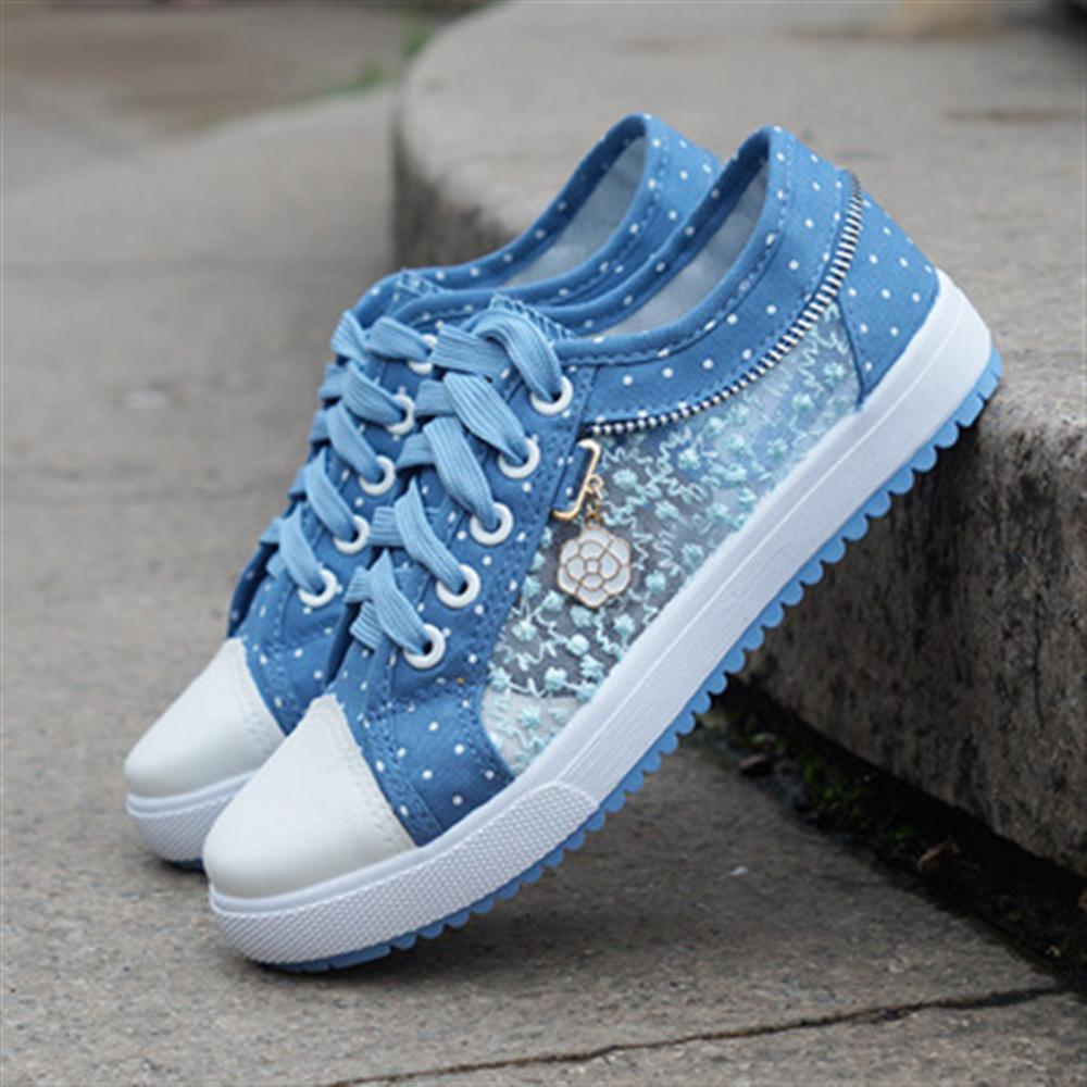 Smerilli 2018 Spring Autumn Breathable Women Canvas Shoes Lace Cut Out Lady Casual Sneakers Cute Dot Shoes Women tenis feminino forudesign autumn candy colors canvas shoes high top quality flat with canvas shoes for women breathable zapatos tenis feminino