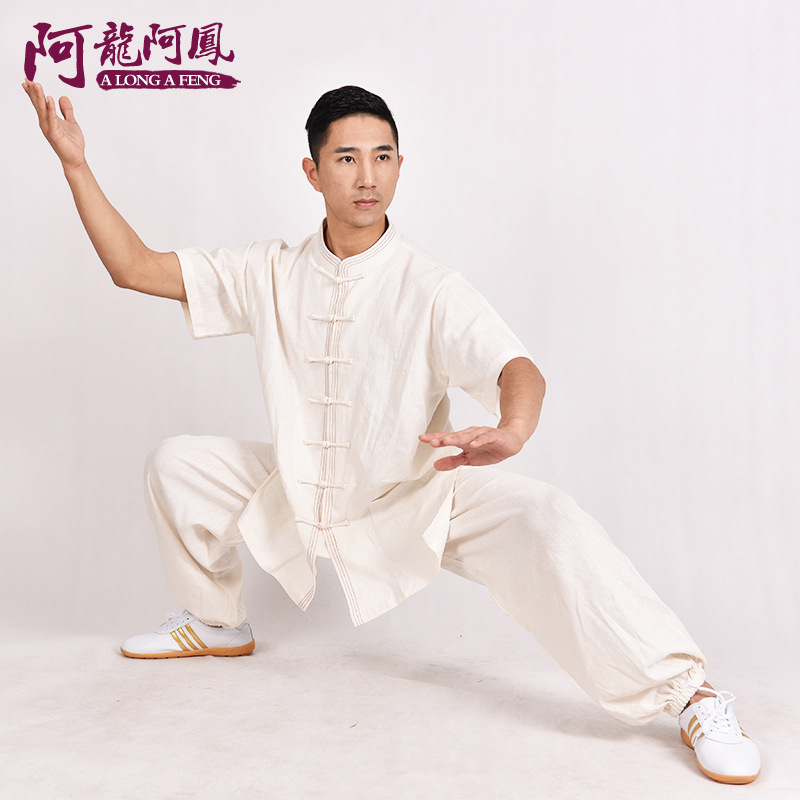 Summer Cotton Short Sleeved Men In Elderly Tai Chi Clothing Half Sleeve Taijiquan Exercise Wear Exercise Martial Arts Activities