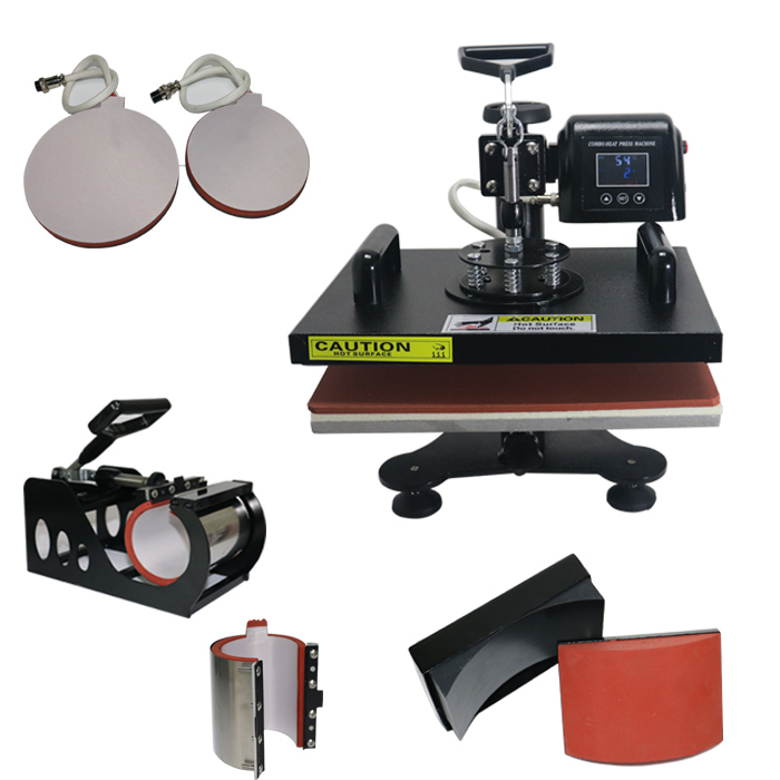 ToAuto 29*38CM 6in1 Combo Heat Press Machine embossing Transfer Printer for Caps Mug T-shirts Hot Stamping Machine 220V wtsfwf 30 38cm 8 in 1 combo heat press printer machine 2d thermal transfer printer for cap mug plate t shirts printing