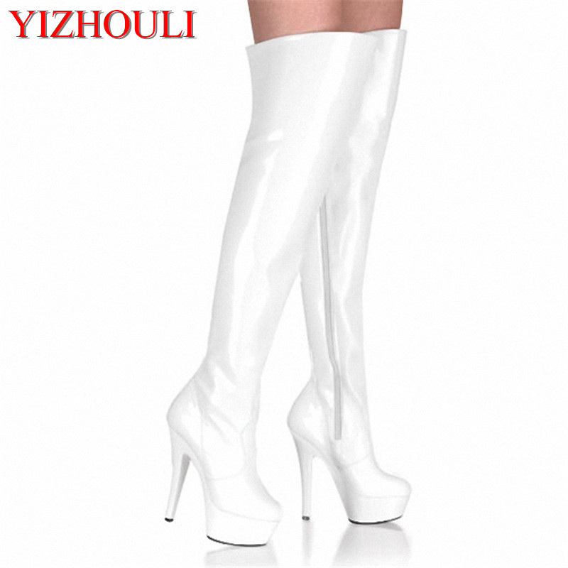 цена 6 inch thigh high boots 15cm high-heeled shoes motorcycle knee-length boots platform round toe steel pipe dance plus size shoes онлайн в 2017 году