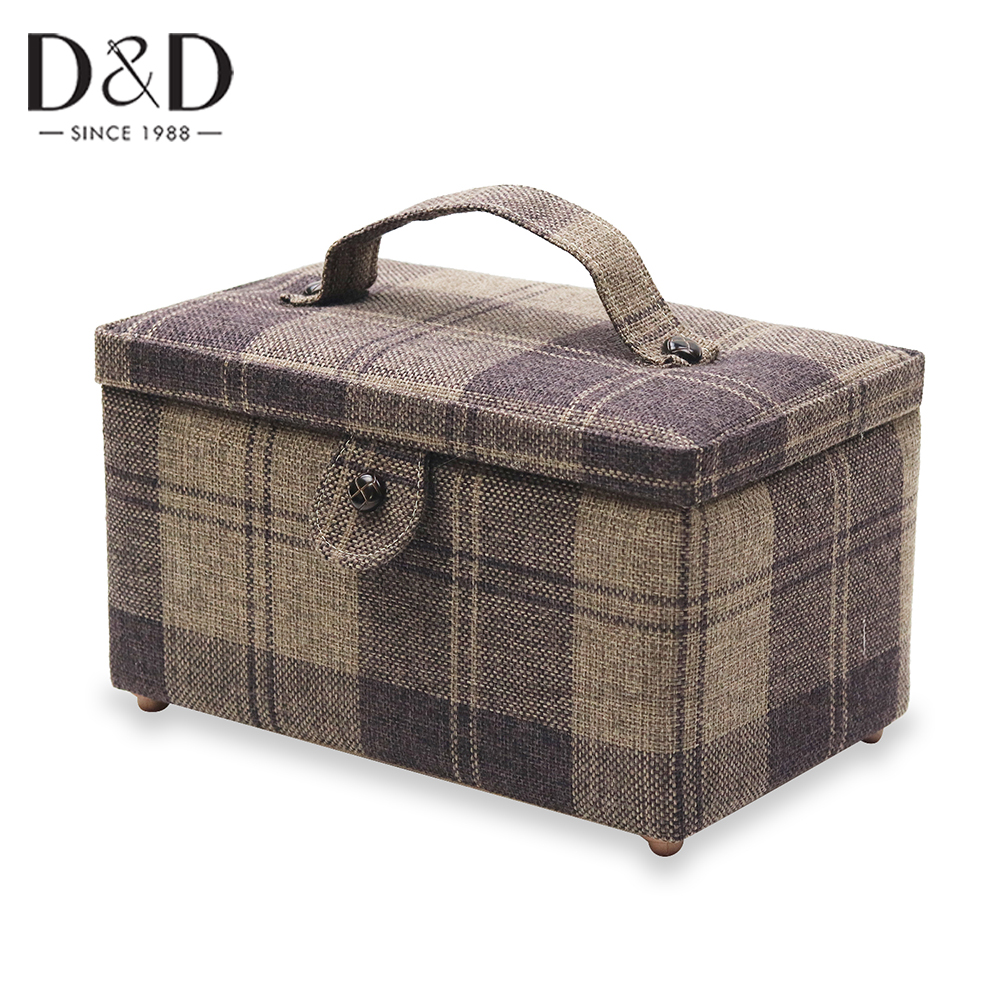 D&D Fabric Box Sewing Kit Basket Needle Tape Scissors Multifunction Sewing Accessories Tools Storage Box Christmas Box Gifts