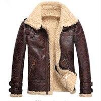 Fashion Mens Vintage Leather Jackets Faux Lamb Fur Fleece Flight Jacket Male Winter Warm Fur Lining Zipper Coats
