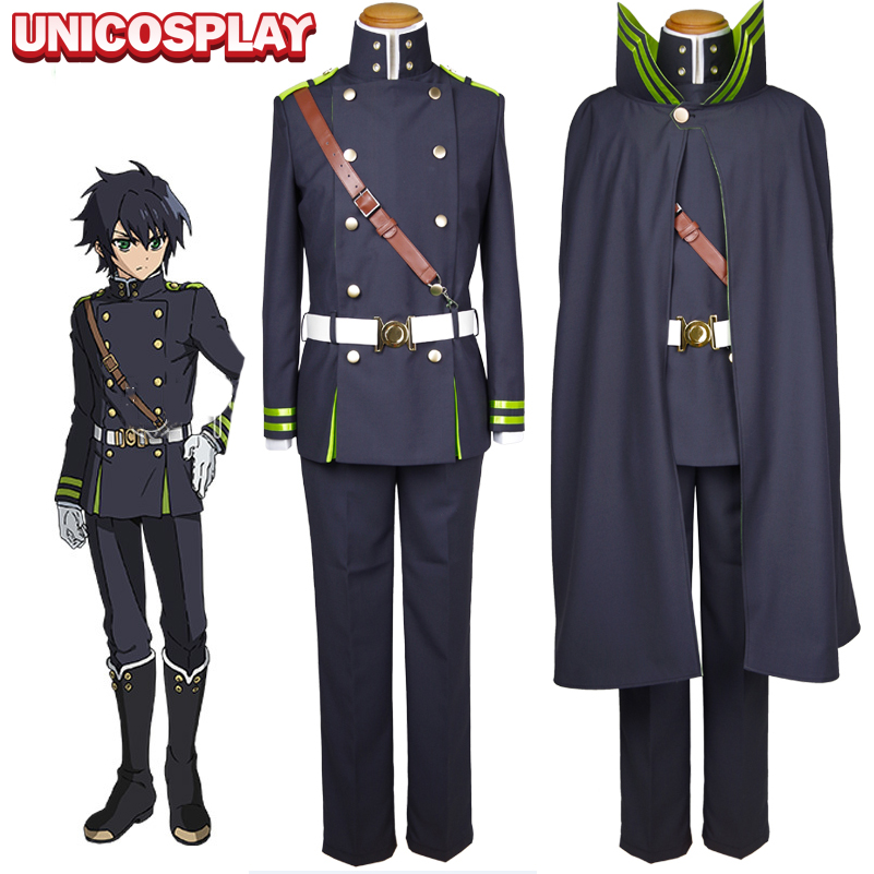 Seraph of the End Yuichiro Hyakuya Cosplay Costume Owari no Serafu Men's Suit Halloween Army Uniform Cloak+Jacket+shirt+pants