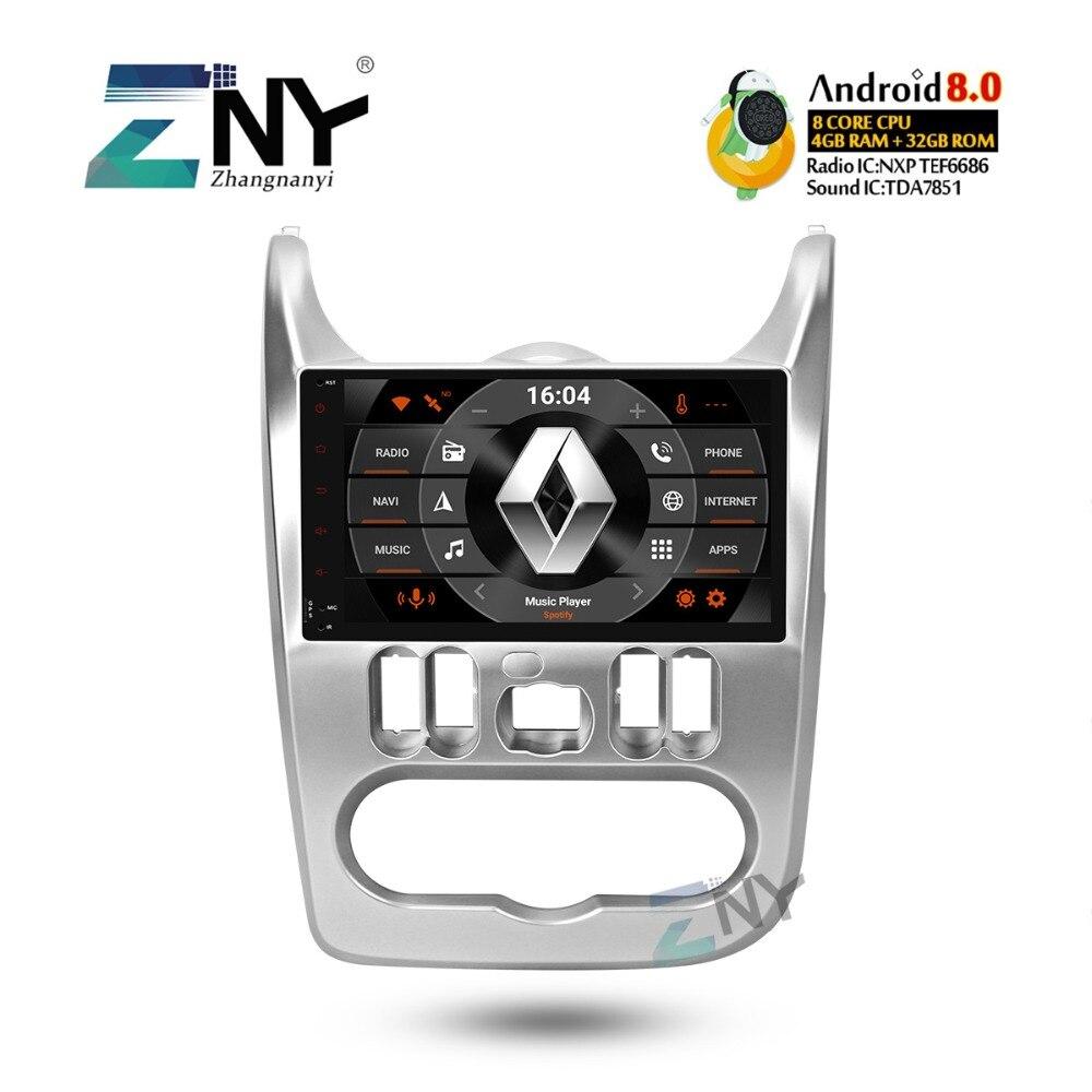 4 ГБ 9 ips Android 8,0 стерео для Renault Duster Dacia Logan Sandero Авто Радио FM gps навигации wi fi резервного копирования камера без DVD