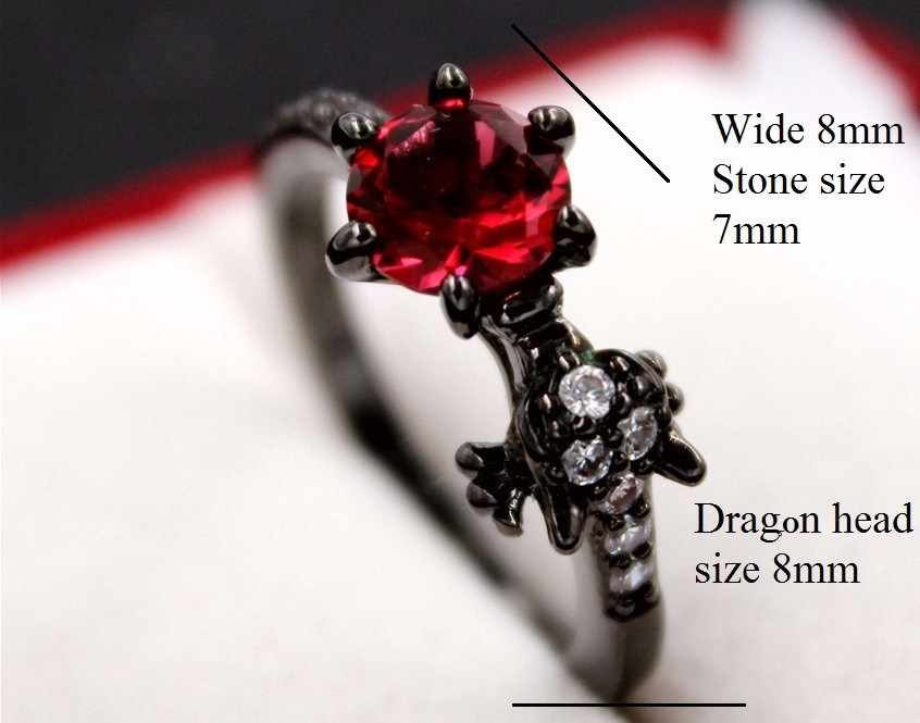 Uloveido Fashion Black Dragon Rings for Women Party Ring with Stones Gifts for Girls Animal Halloween Red Anillos Mujer Y192