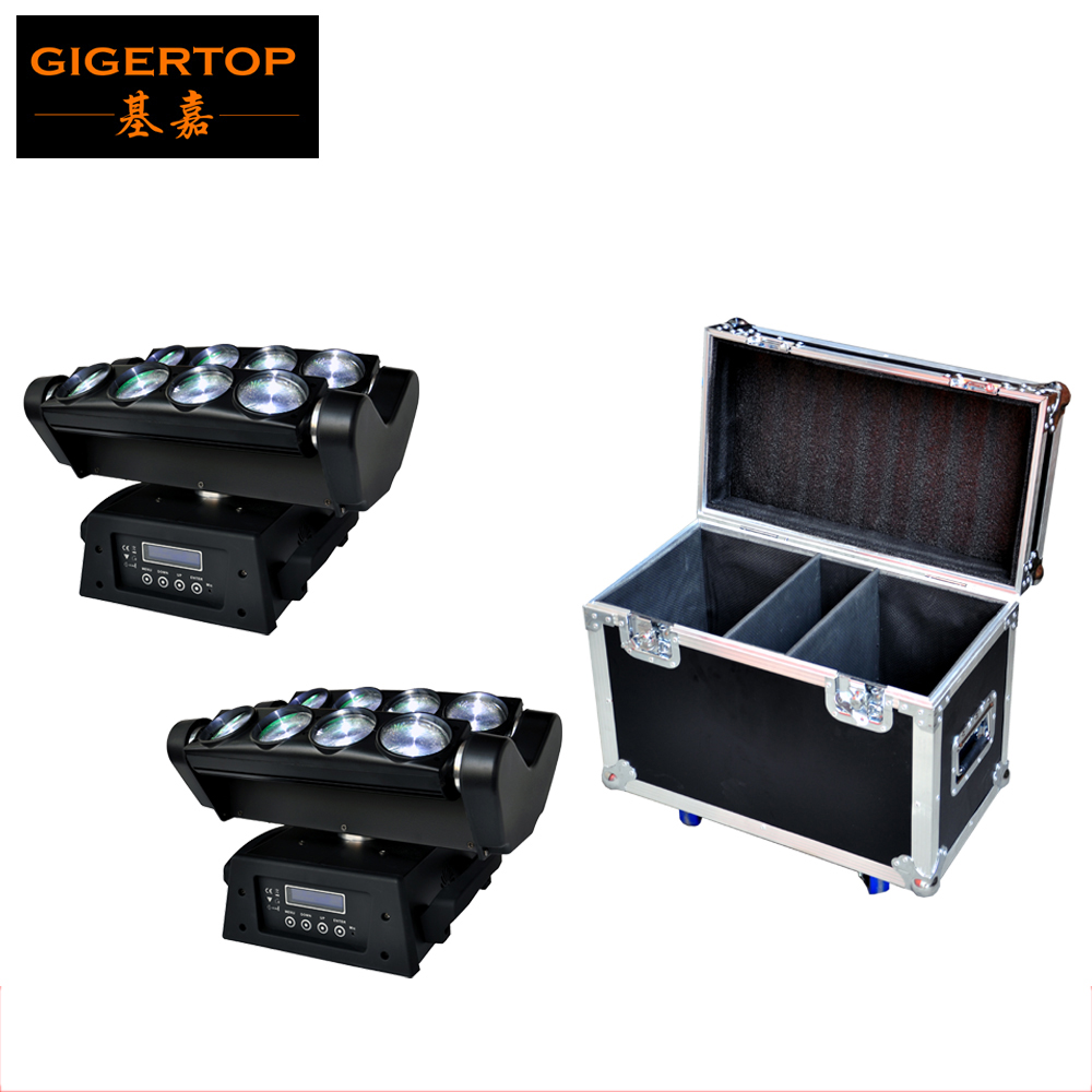2IN1 Flightcase Pack White Color LED Moving Head Beam 8 eyes Light 100W TIPTOP Stage Light Led Spider Moving Head Light DMX 512 1 pack 100