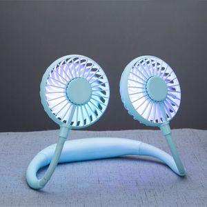 Image 3 - 2000MA el ücretsiz spor çift Fan taşınabilir boyun bandı asılı USB pil şarj edilebilir Mini soğutucu Fan ışıkları ve parça 360 Ad