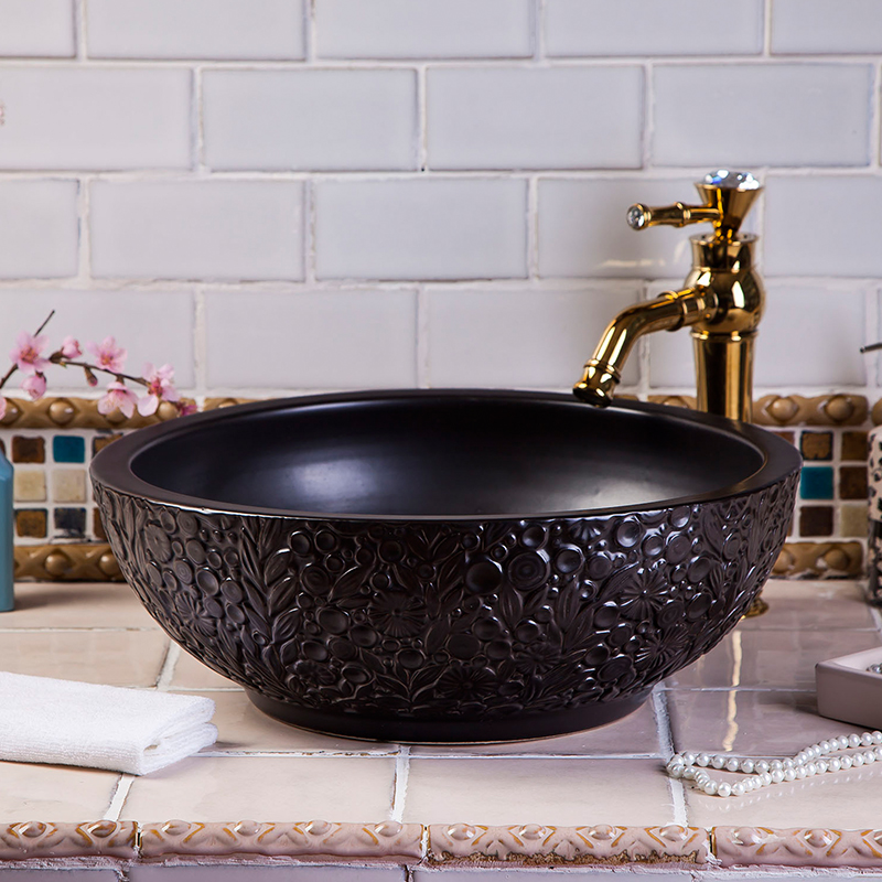 HAND CARVED Flower Design Black Color Ceramic Hotel Basin Bathroom Sink
