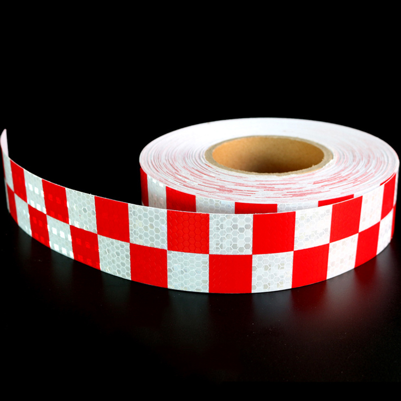 Red White Chessboard Lattice Reflective Tape Car Sticker Automobile Vehicle Truck Motorcycle Roadway Fence Warning Mark Strip