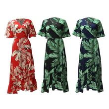 Womens Summer Half Flare Sleeves Chiffon Midi Dress Boho Tropical Leaves Printed Belted High Waist Split Asymmetric Ruffles Hem retro buttoned high waisted belted flare dress