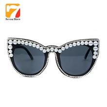 цена на Brand designer Cat eyes Sunglasses women Fashion glasses Pearl Rhinestone Red mirror Glasses UV400 Oculos Ladies Sunglasses