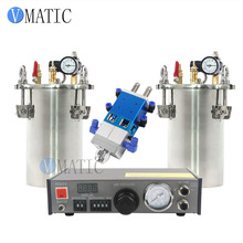 Free Shipping Automatic Liquid Glue Dispenser Set Including Dispensing Machine+Dual Valve Big Flow+2 Pcs 1L Pressure Tank