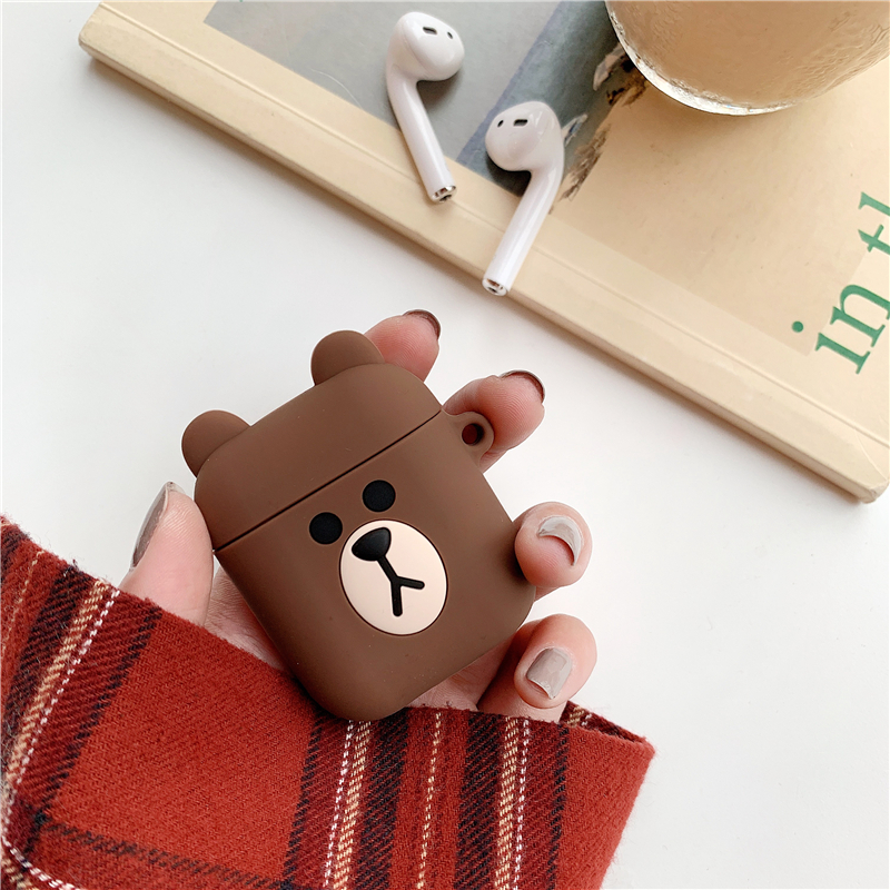 Silicone Case for Airpods Accessories for i10 TWS Bluetooth Earphone Protective Cover Bag Anti-lost Strap Cute Cartoon bear DIY1