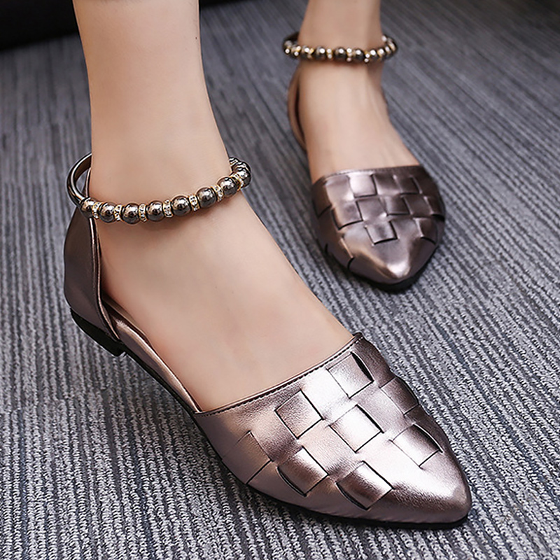 flat shoes women pointed toe bag flats solid mental decoration buckle strap weave shoes basic 2018 new party shoes hot hot sale 2016 new fashion spring women flats black shoes ladies pointed toe slip on flat women s shoes size 33 43