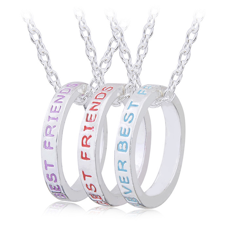 Friendship <font><b>Necklace</b></font> <font><b>For</b></font> <font><b>3</b></font> Girls Round Charm <font><b>BFF</b></font> Best <font><b>Friends</b></font> Forever Pendant <font><b>Necklace</b></font> Memorial Jewelry Christmas Gift <font><b>For</b></font> <font><b>Friend</b></font> image