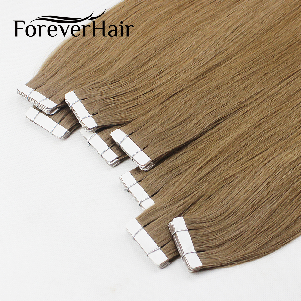 FOREVER HAIR Tape In Human Hair Extensions 16 18 20 20 Piece Real Remy Straight Brazilian