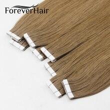 """FOREVER волосы на ленте, человеческие волосы для наращивания 1"""" 18"""" 2"""" 20 шт, настоящие прямые бразильские волосы Remy на невидимой ленте, искусственная кожа, уток"""
