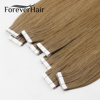 FOREVER HAIR Tape In Human Hair Extensions 16 18 20 20 Piece Real Remy Straight Brazilian Hair On Invisible Tape PU Skin Weft