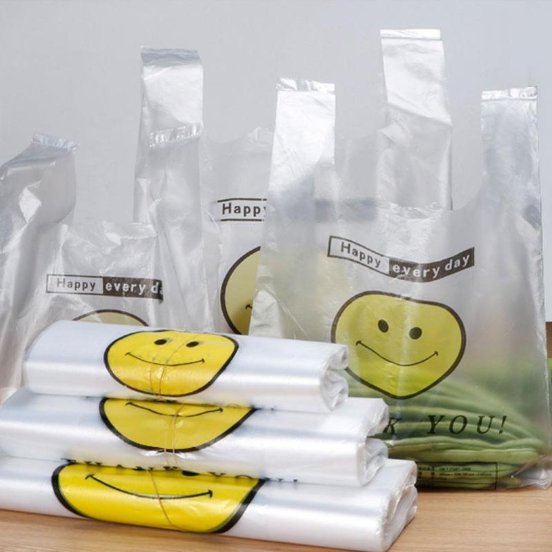 50pcs Transparent Bags Shopping Bag Supermarket Plastic Bags With Handle Food Packaging