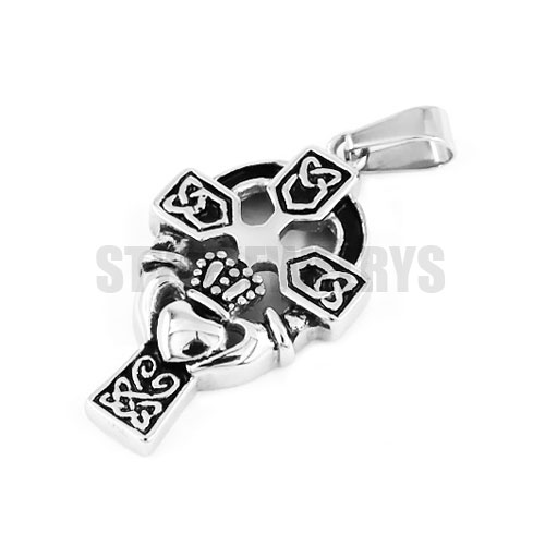 Claddagh Style Hand to Hold a Heart Cross Pendant Stainless Steel jewelry Celtic Knot Motor Biker Pendant SWP0365