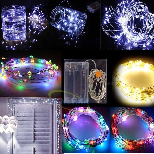 10M 100LED Silver Wire Lights String Mini Fairy Party Home string battery box for holiday light string wedding