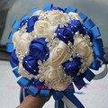 Настроить Цвет Синий Кот Лента Алмаз Цветок Букет Невесты Невесты Рук Держатель Шелк Ювелирные Изделия Свадебный Букет W224A