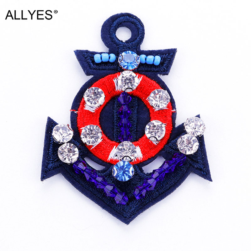 ALLYES Acrylic beads Crystal Embroidery Anchor Brooches For Women Costume Jewelry Female Safety Pin Brooch Lapel Pin Badge
