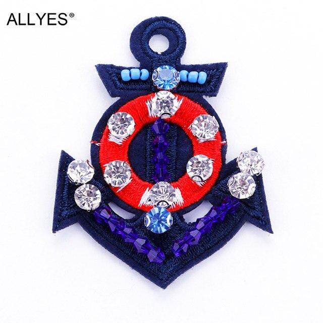 Allyes акриловые бусины хрустальные Вышивка якорь Броши для Для женщин бижутерия женские Детская безопасность Булавки брошь с лацканами Булавки знак