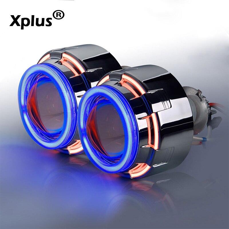 Xplus 55W Double Angel Eye 3'' inch aircraft aluminium 55W H1 H3 H4 H7 H8 H10 H11 9005/6 Bi xenon Projector Lens Devil Eye 12C