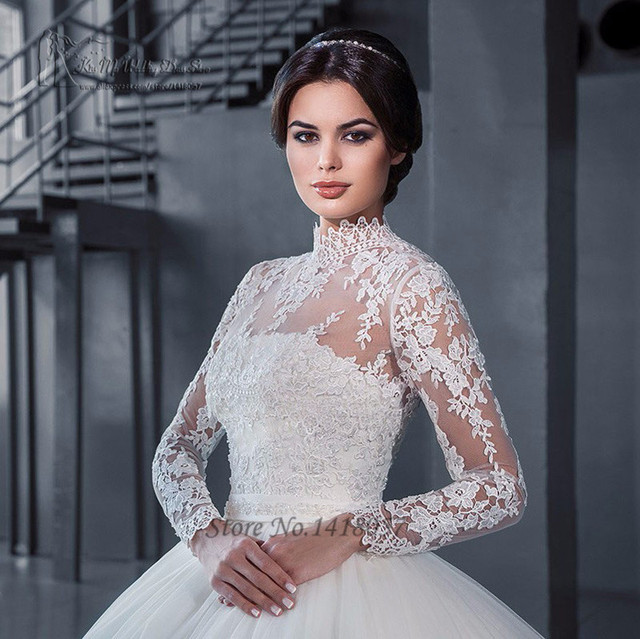 Vestidos De Noiva 2016 Muslim Long Sleeve Lace Wedding Dresses Jacket High Neck Ball Gown Bridal