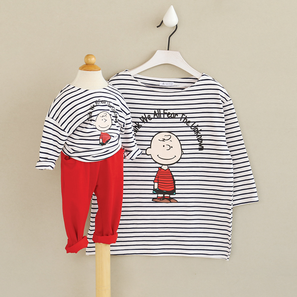 2 pieces/lot Family look clothing in spring new children lovely stripes matching father mother and son daughter T-shirt clothes