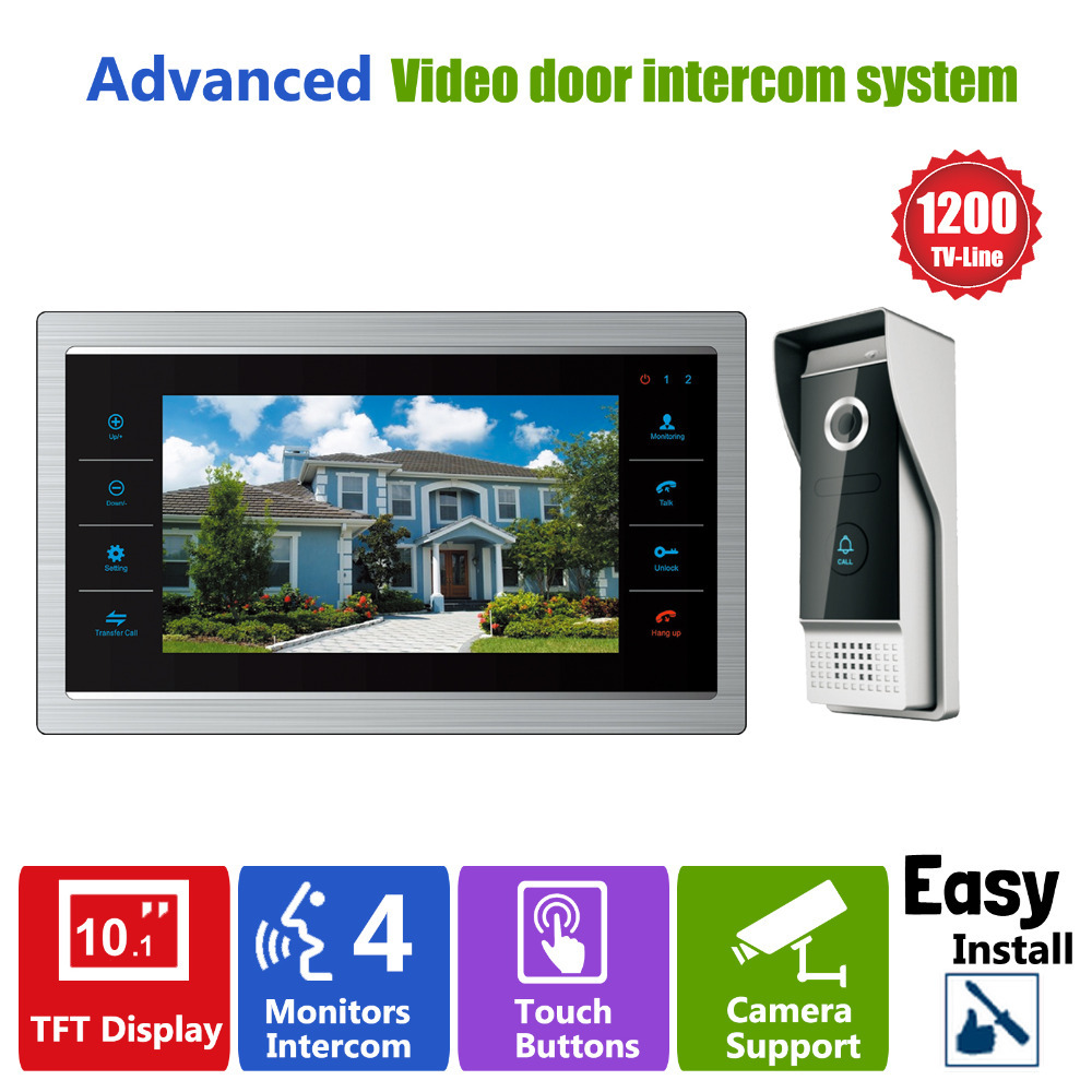 Homefong 10 inch TFT LCD Door Phone Video Doorbell System with Camera 3.7MM Lens 1200TVL 1V1 Home Apartment Entry Kit