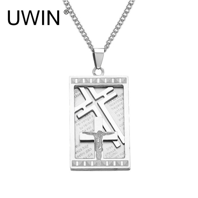 f70d6f43db3c UWIN Mens Silver Stainless Steel Christian Bible Lords Prayer Cross Jesus Pendant  Necklace Dog Tag Pendant