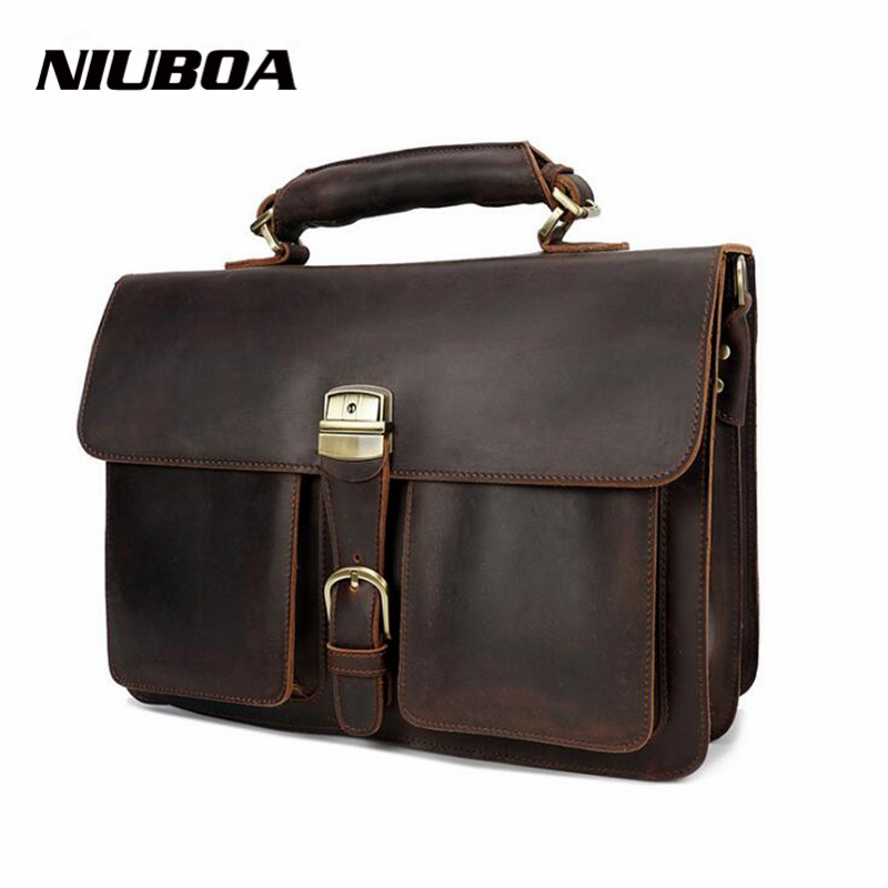 NIUBOA 100% Genuine Leather Men Bag Top Quality Natural Cowhide Laptop Business Shoulder Bags Hand Tote Crossbody Messenger Bags