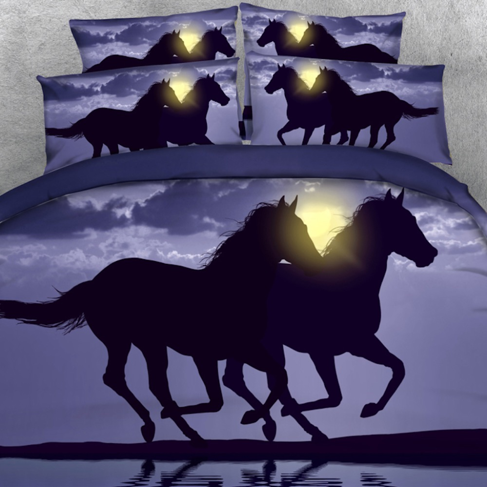 4 PCS PER SET Horses running on the beach at Sunset 3d Digital animal bed set with 3D Blanket Cover 3D Bed Linens