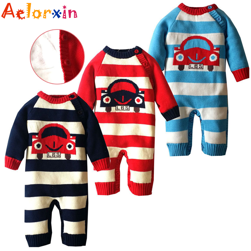 Newborn Winter Cartoon Car Baby Rompers Infant Soft Cotton Thick Baby Boy Girl Jumpsuit Long Sleeve Fleece Ropa Bebes Costume 2017 spring newborn rompers baby boys girls clothes long sleeve cute cartoon face cotton infant jumpsuit queen ropa bebes 0 24m