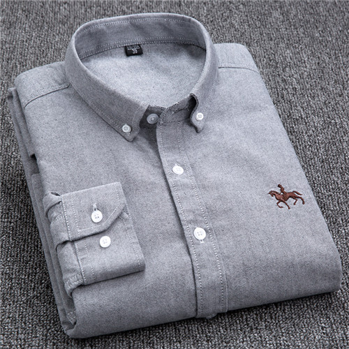 S-6XL Plus size New  OXFORD FABRIC 100% COTTON excellent comfortable slim fit button collar business men casual shirts tops 12