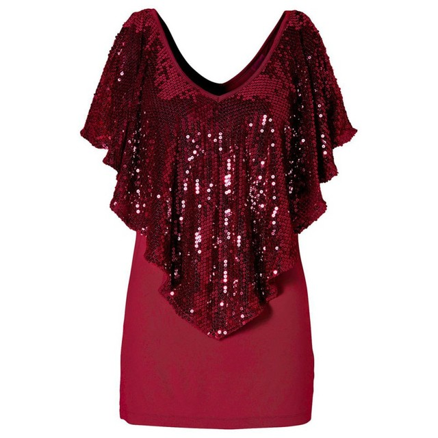 Beautiful Sequin Womens Lady Sparkle Glitter T Shirt