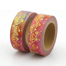 1pcs foil diamond colorful Washi Tape Japanese Paper 15mm*10m Cute Masking Tape Photo Album Diy Decorative Tapes цена
